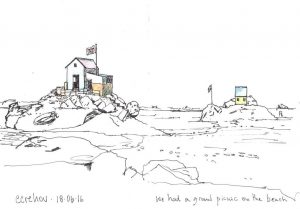 Huts - ink and watercolour - small